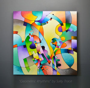 Original abstract geometric paintings by Sally Trace