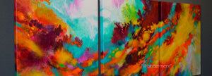 "Abstract art for sale by Sally Trace, Wonderment"" original triptych painting"