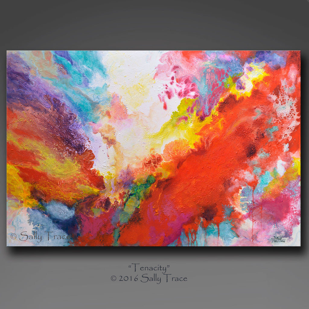 Tenacity, original fluid pour painting by Sally Trace