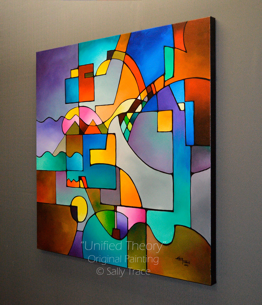 Unified Theory, an original, colorful geometric abstract painting for sale, side view.