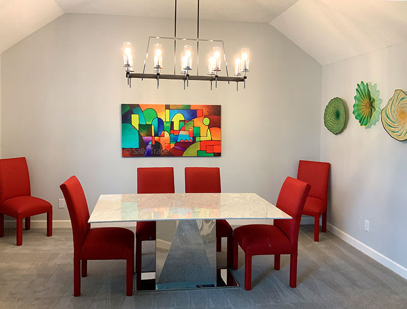 Sally Trace artwork hanging in a modern contemporary dining room
