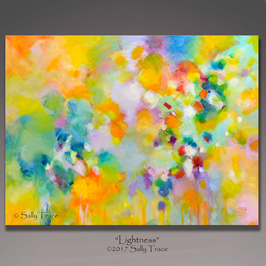 Lightness, large abstract expressionism painting for sale by Sally Trace