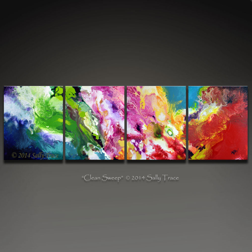 Clean Sweep fluid art four canvas abstract painting for sale