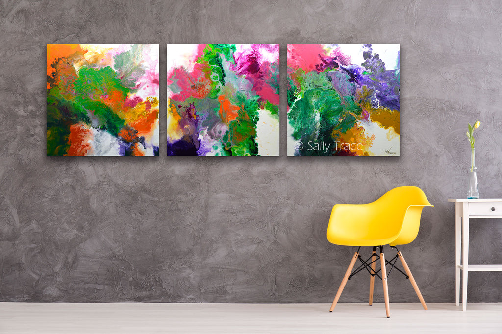 "Fluid art pour painting triptych giclee print, contemporary abstract art for sale, ""Delicate"" by Sally Trace, room view"