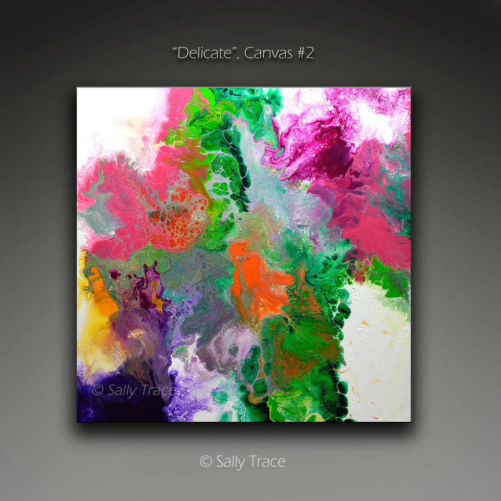 "Fluid art pour painting triptych giclee print, contemporary abstract art for sale, ""Delicate"" by Sally Trace, canvas #2"