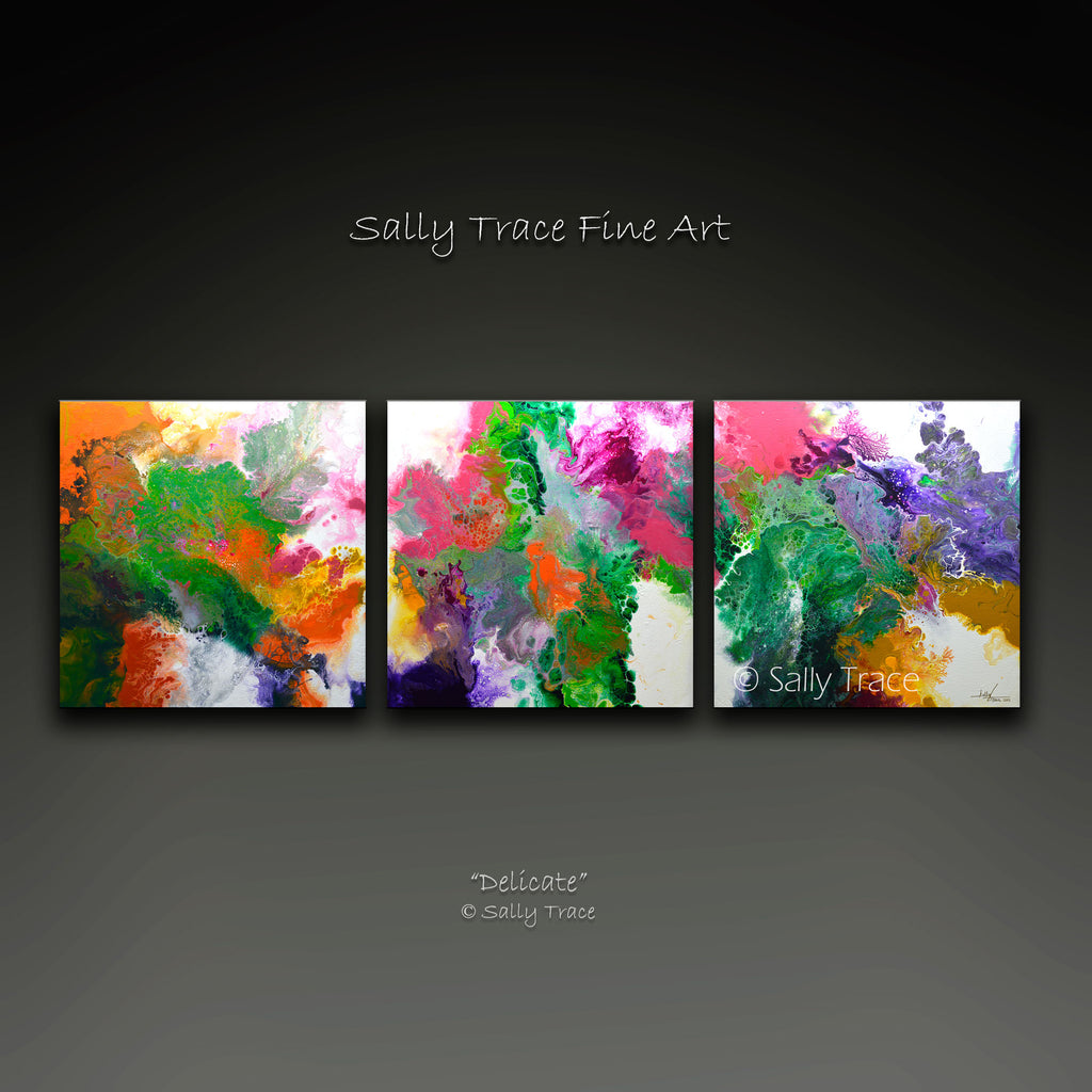 "Fluid art pour painting triptych giclee print, contemporary abstract art for sale, ""Delicate"" by Sally Trace"