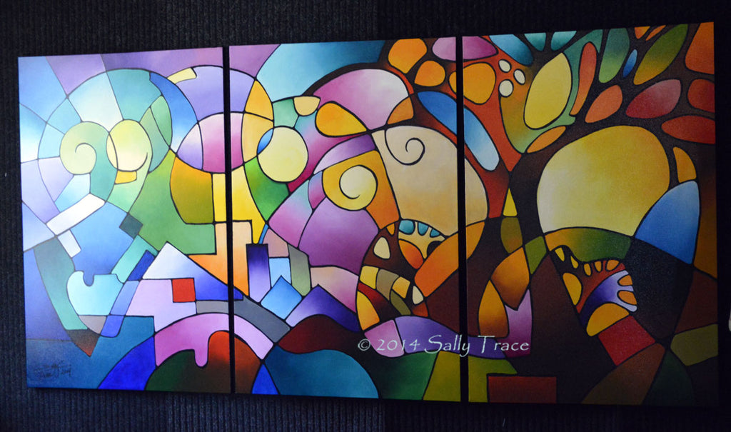Daydream triptych geometric landscape painting by Sally Trace