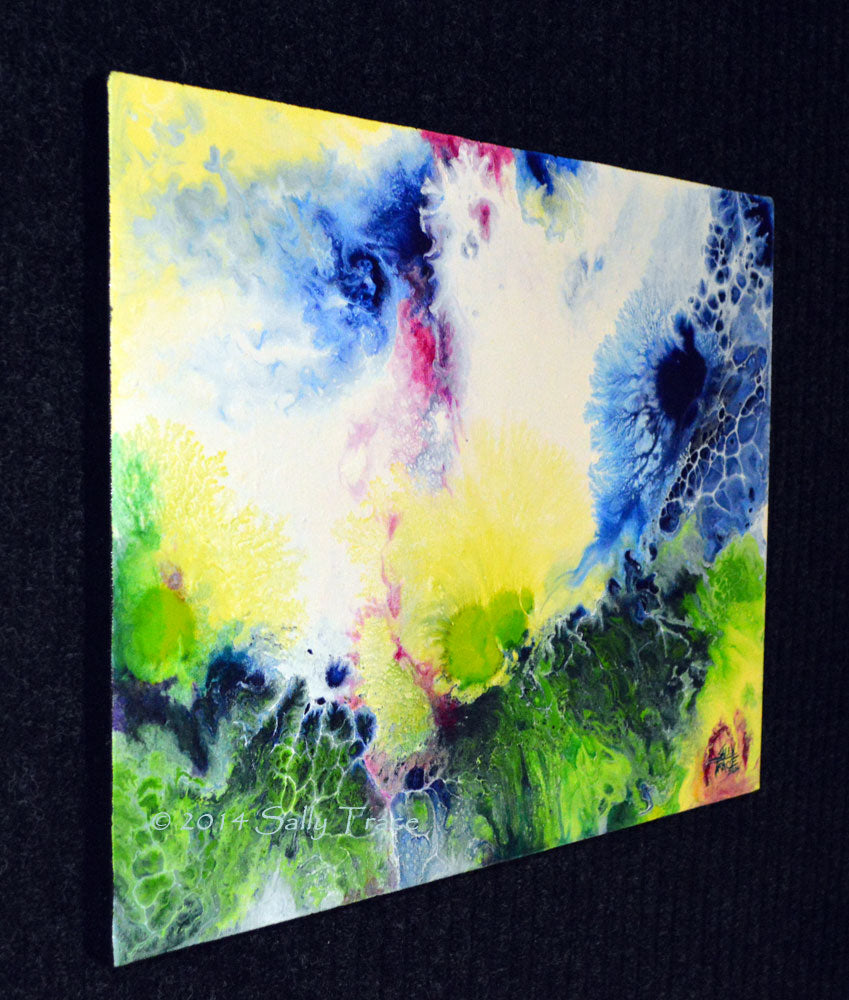 Flair of the Dramatic, fluid art painting for sale by Sally Trace, left view