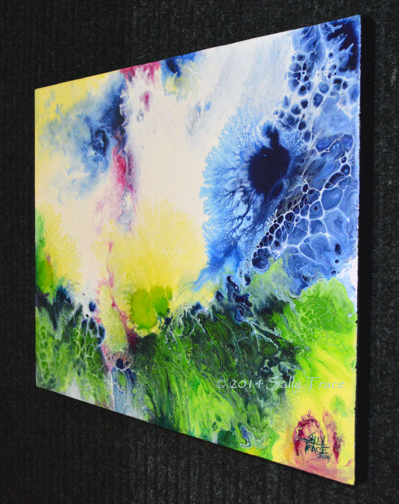 Flair of the Dramatic, fluid art painting for sale by Sally Trace, right view