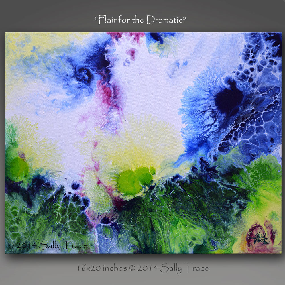 Flair of the Dramatic, fluid art painting for sale by Sally Trace