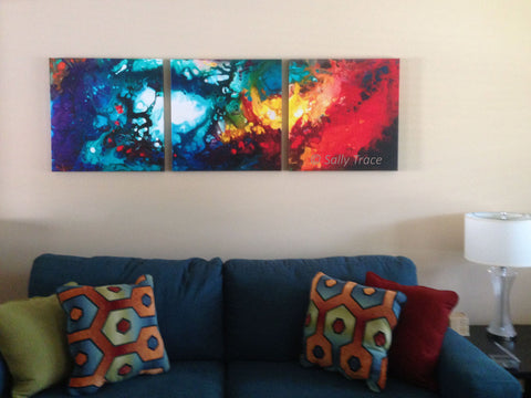 Heavenly Fire, abstract art triptych by Sally Trace