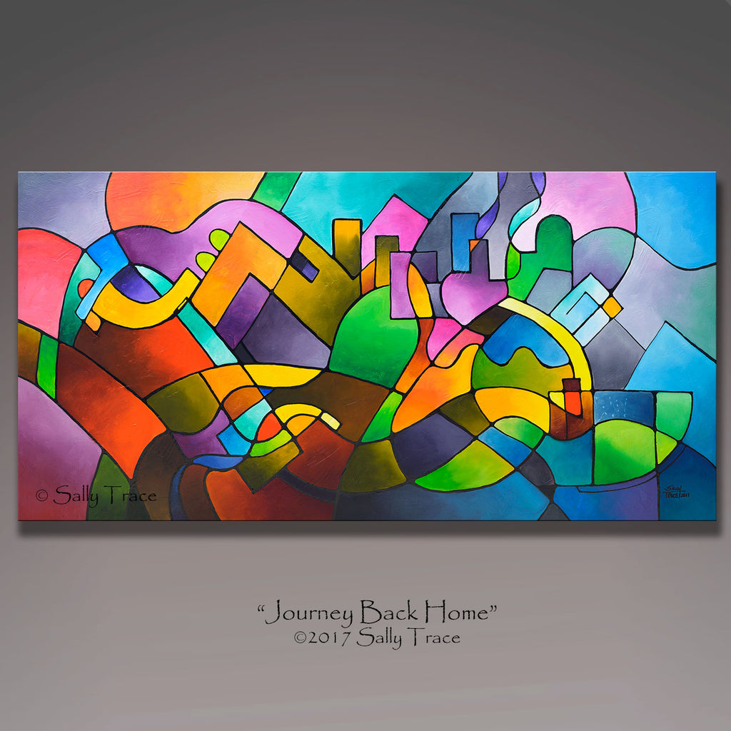 Journey Back Home, original geometric abstract painting by Sally Trace