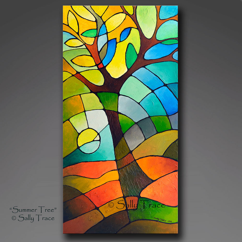 Summer Tree original textured geometric painting by Sally Trace