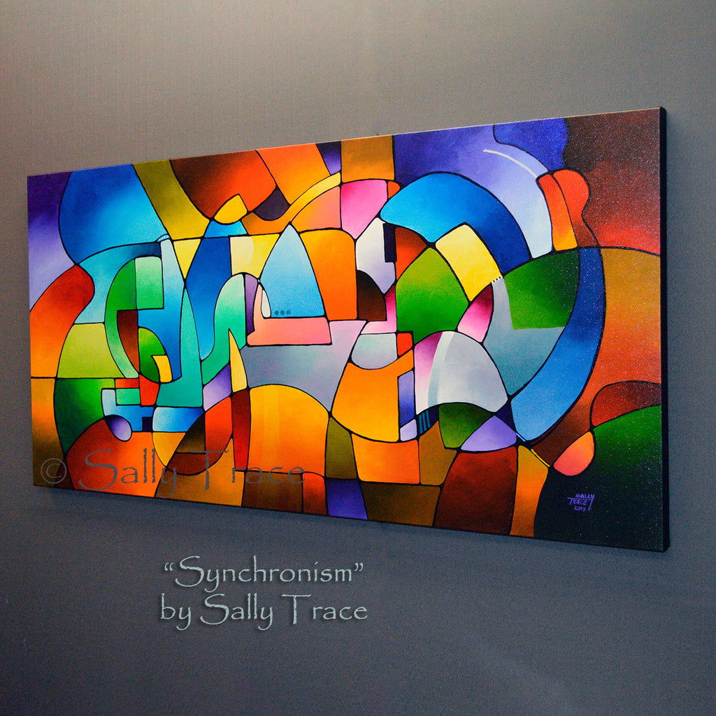 Synchronism Original Geometric Painting by Sally Trace
