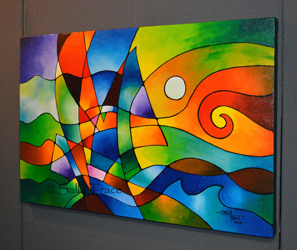 "Modern geometric art painting ""Into the Wind"" by Sally Trace"