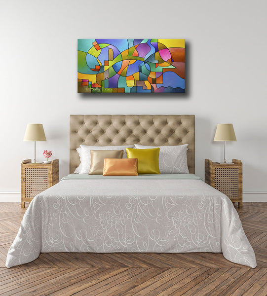 """Equilibrium"" original geometric abstract painting for sale by Sally Trace, bedroom decor view"