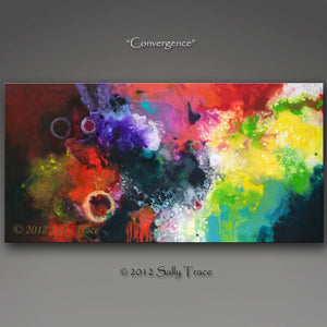Convergence, fluid art original painting by Sally Trace