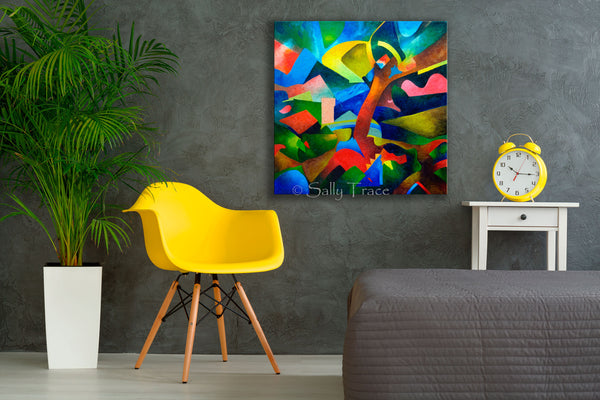"Canvas prints made from my original painting ""Dark Landscape"", an abstract landscape oil painting with dark blues, vibrant colors, ""Dark Landscape"""