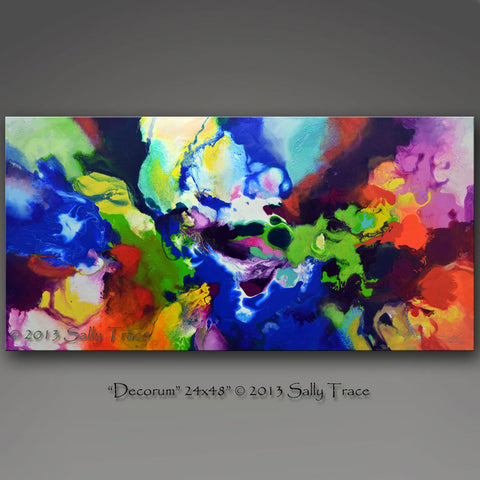 Decorum fluid pour painting by Sally Trace