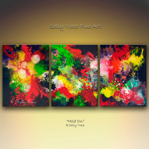 Hold On original triptych abstract fluid painting Sally Trace