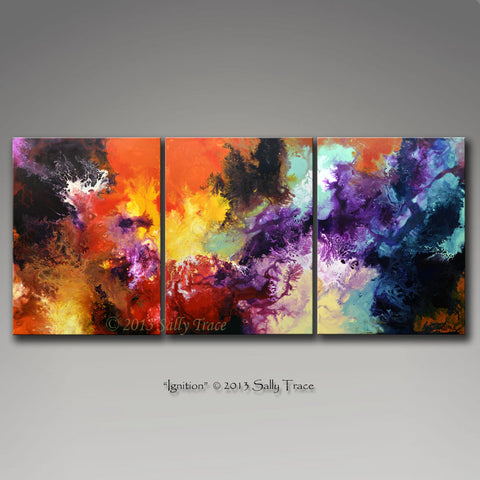Ignition, giclee prints on canvas from the original painting by Sally Trace