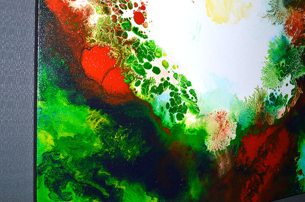 Infusion 2, fluid acrylic pour painting by Sally Trace, detail view
