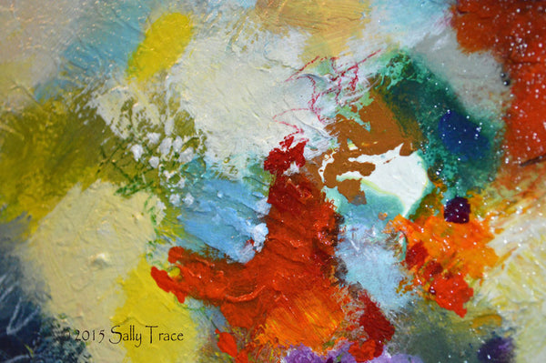 Reach Beyond, original textured abstract painting by Sally Trace, detail view
