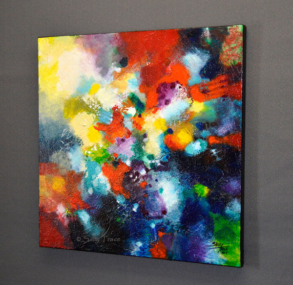 Reach Beyond, original textured abstract painting by Sally Trace, right side view