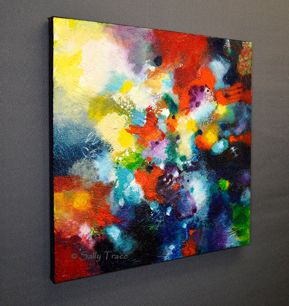 Reach Beyond, original textured abstract painting by Sally Trace, left side view