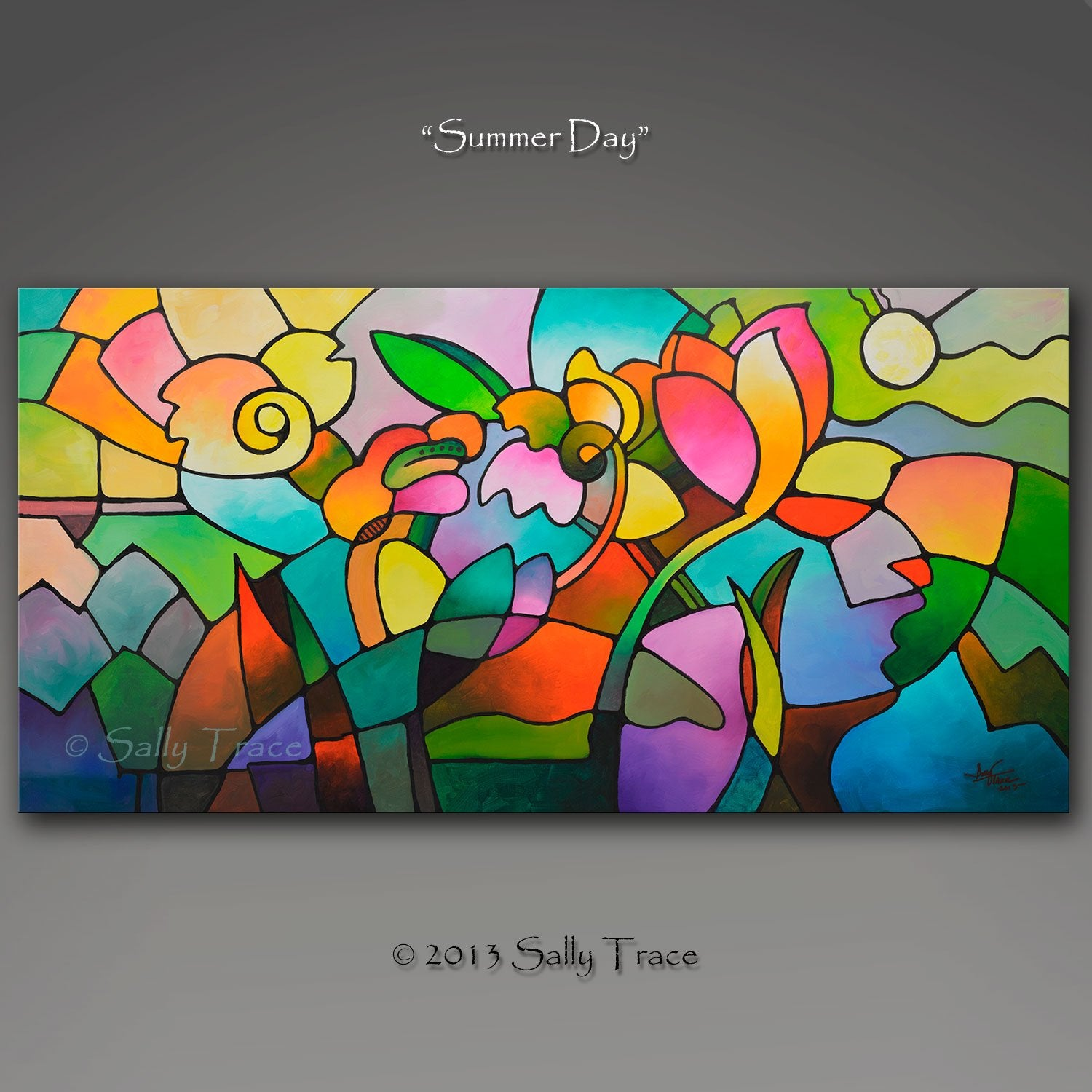 Summer Day, fine art extra large wall art giclee print on canvas by Sally Trace