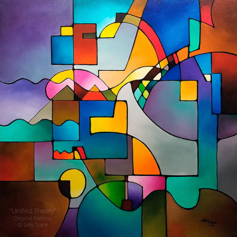 Original abstract geometric painting for sale by Sally Trace