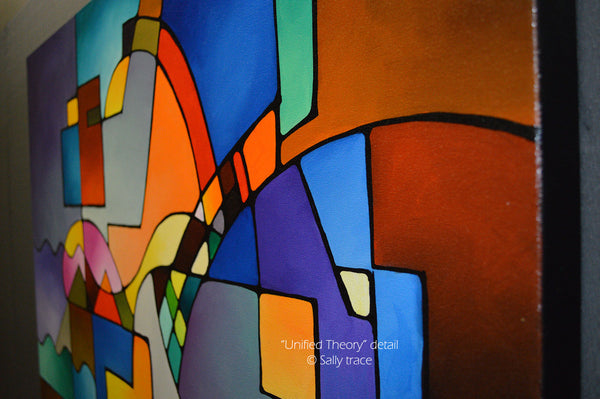 Unified Theory, original abstract art for sale, contemporary modern geometric painting by Sally Trace, detail view