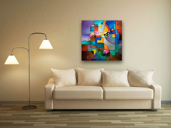 Unified Theory, original abstract art for sale, contemporary modern geometric painting, room view, by Sally Trace