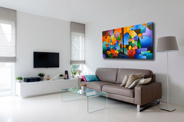 Abstract art for sale by Sally Trace, Urbanity Vista two canvas abstract geometric cityscape painting