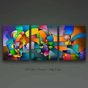 Modern art triptych giclee prints from my original geometric art acrylic painting by Sally Trace