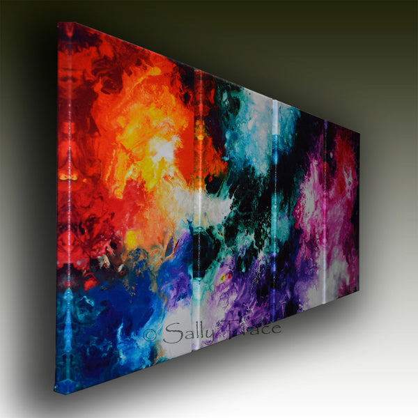 Modern fluid art painting print set by Sally Trace