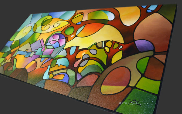 Modern geometric art abstract landscape for sale by Sally Trace