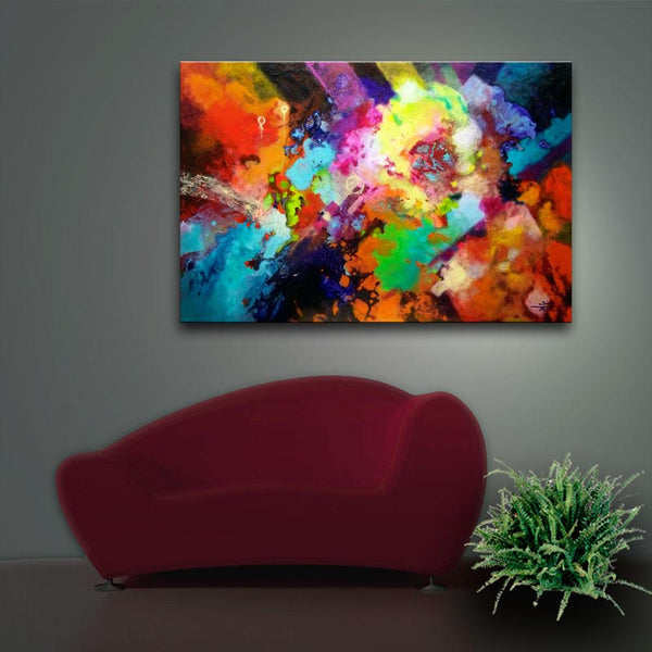 Escape Velocity, canvas prints from the original fluid pour painting by Sally Trace, room view