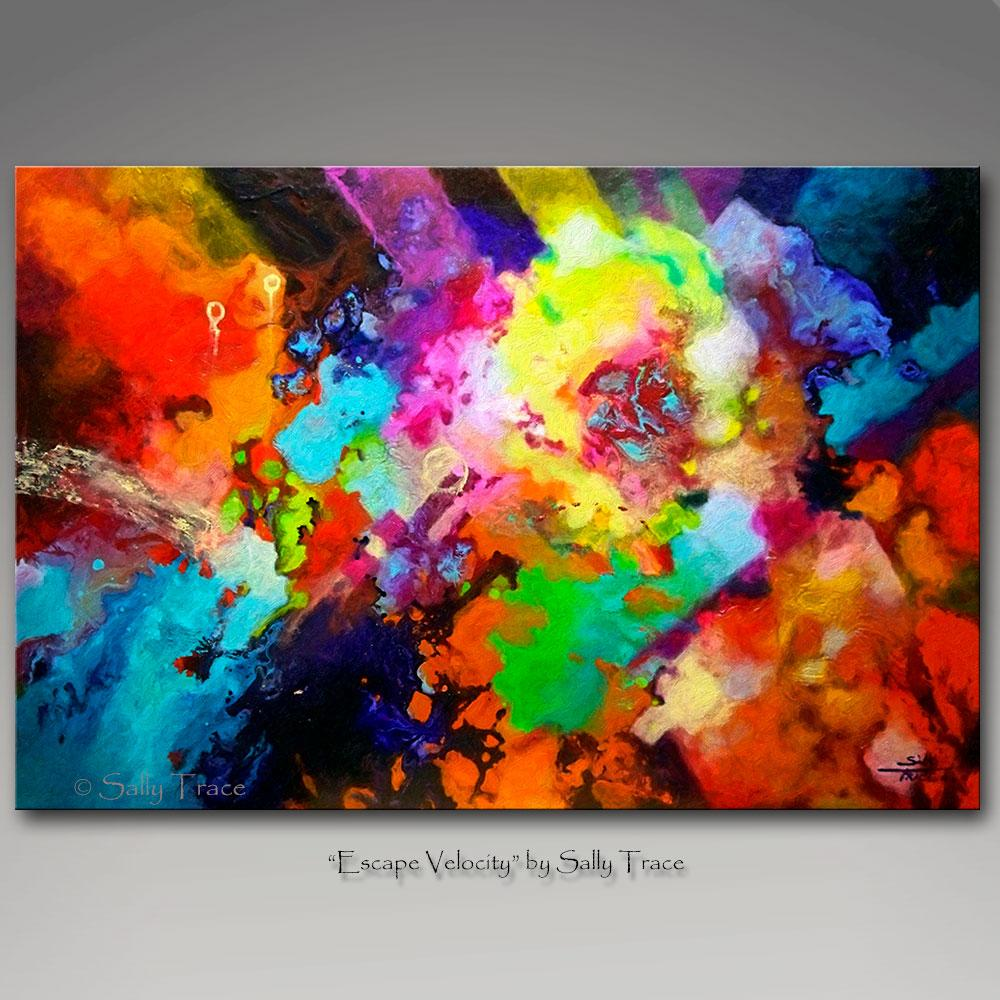 Escape Velocity, canvas prints from the original fluid pour painting by Sally Trace