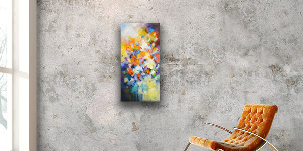 """Higher Vibration"", Original Abstract Vertical Textured Painting by Sally Trace, Sold"