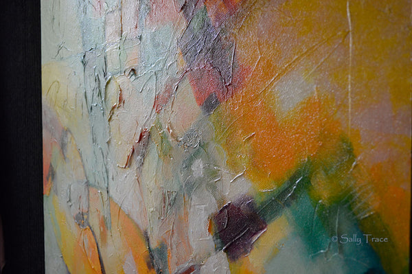"Original textured mixed media painting by Sally Trace, ""In and Out"", close-up."