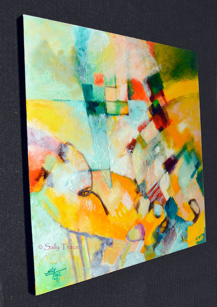 "Original textured mixed media painting by Sally Trace, ""In and Out"", side view.."