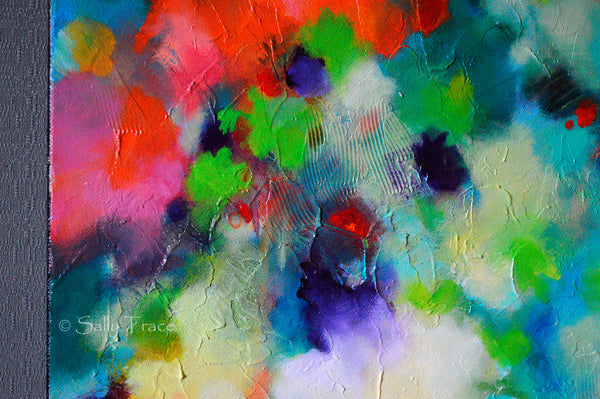 """Lifting Clouds"" original fine art abstract textured painting for sale by Sally Trace, detail"