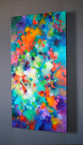 """Lifting Clouds"" original fine art abstract textured painting for sale by Sally Trace, side view"