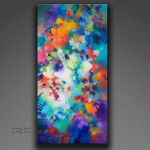 """Lifting Clouds"" original fine art abstract textured painting for sale by Sally Trace"