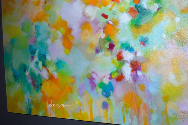 "Modern contemporary art for sale by Sally Trace, ""Lightness"" giclee print on canvas, close up view"