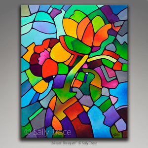 Modern abstract art for sale by Sally Trace, Mosaic Bouquet