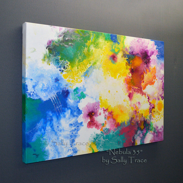 Nebula 35, original fluid art painting by Sally Trace, side view