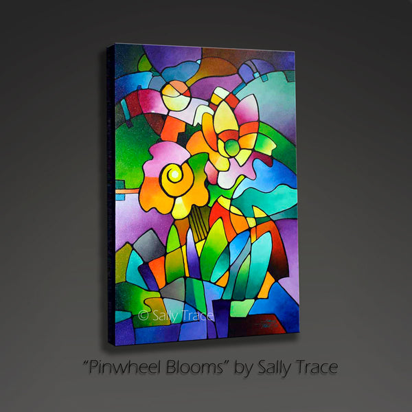 Abstract painting by Sally Trace, Pinwheel Blooms
