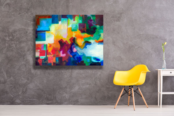 "Abstract geometric painting giclee print on canvas by Sally Trace ""To See Beyond"", room view"